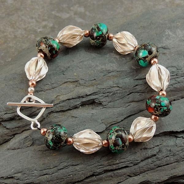 Artisan Lampwork, Hill Tribe Silver Bracelet