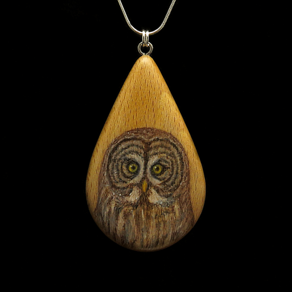 Great Gray Owl on Beechnut Wood Pendant