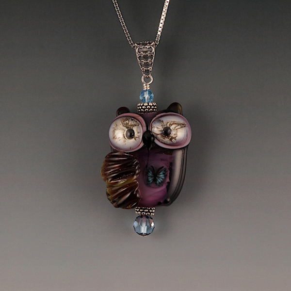 Lampwork Owl Pendant Sterling Silver GRIFFIN