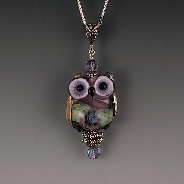 Lampwork Owl Pendant Sterling Silver VIOLET