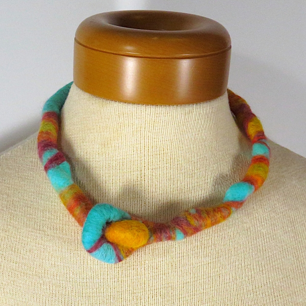 Felted Wool Necklace- Aqua Blue, Orange - Koi Pond