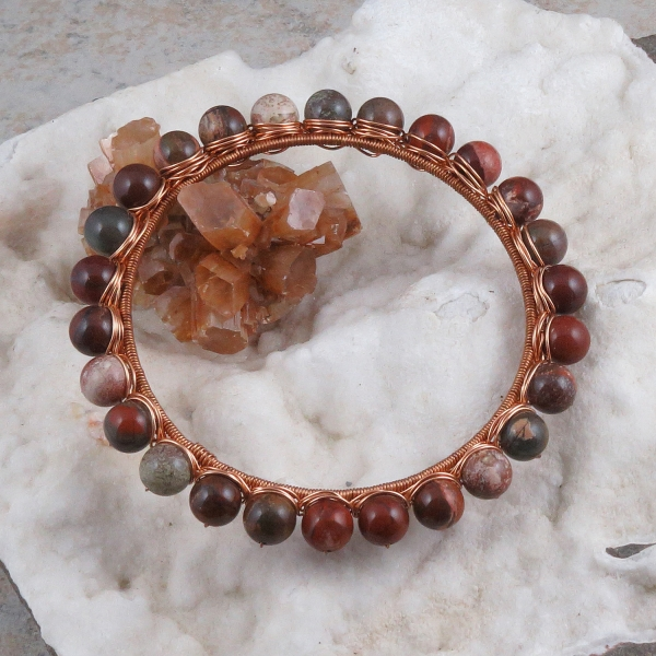 Brecciated Jasper Copper Wire Wrapped Bangle Bracelet