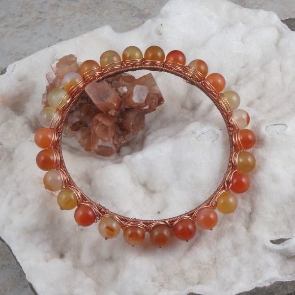 Carnelian Agate Copper Wire Wrapped Bangle Bracelet