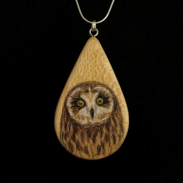 Short Eared Owl on Quarter Sawn Ash Wood Pendant