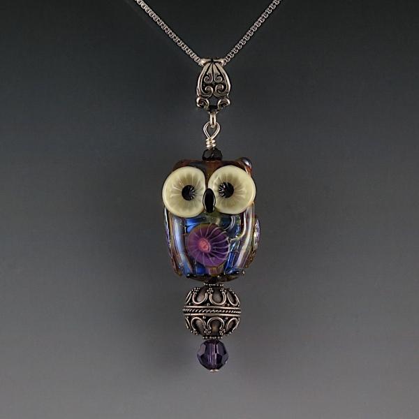 Lampwork Owl Pendant Sterling Silver BERNICE