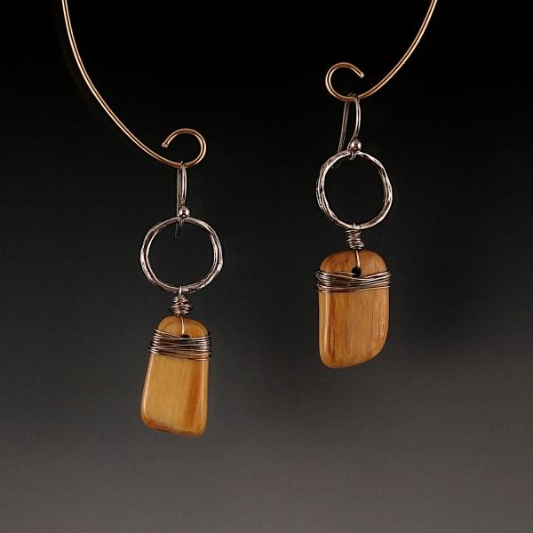 Petrified Wood Sterling Silver Earrings