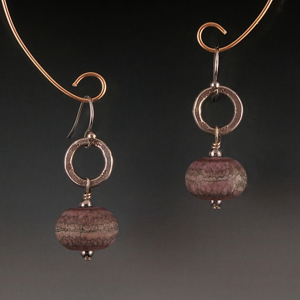 Artisan Lampwork, Naos Glass, Hill Tribe Silver Earrings