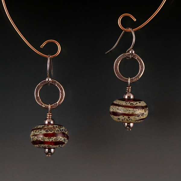 Artisan Lampwork, Naos Glass, Hill Tribe Silver Earrings
