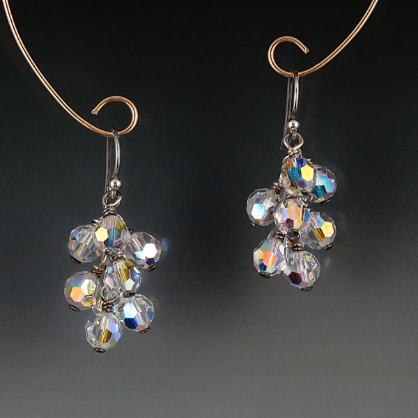 Swarovski Crystal Cluster Earrings - Crystal AB