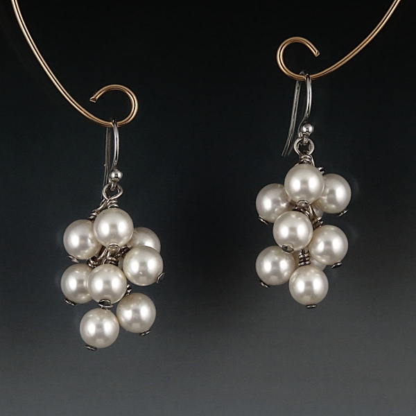 Swarovski Crystal Pearl Cluster Earrings - White