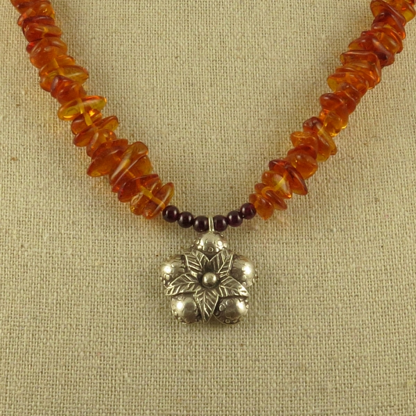 Amber Star Flower Necklace Hill Tribe Silver Garnet