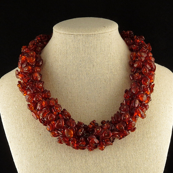 Baltic Amber Cluster Necklace Beaded Statement Necklace
