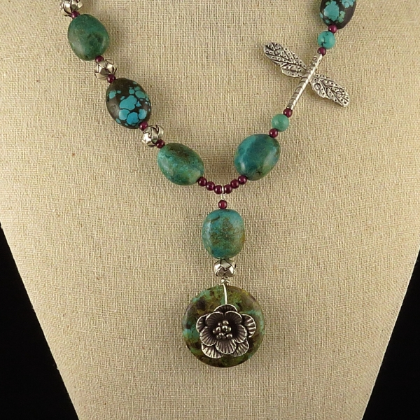 Turquoise and Vintage Hill Tribe Silver Necklace