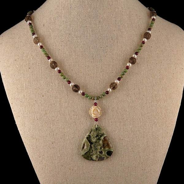Rainforest Jasper Necklace, Smokey Quartz, Turquoise, Garnet, Pearl