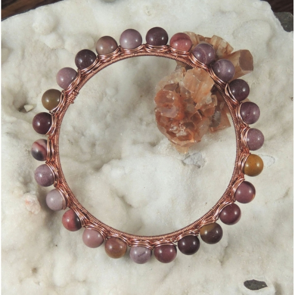 Mookaite Copper Wire Wrapped Bangle Bracelet