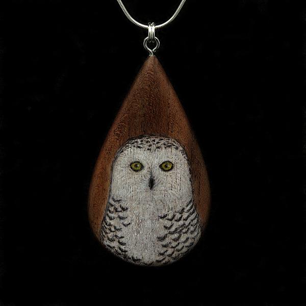 Snowy Owl on Walnut Wood Pendant