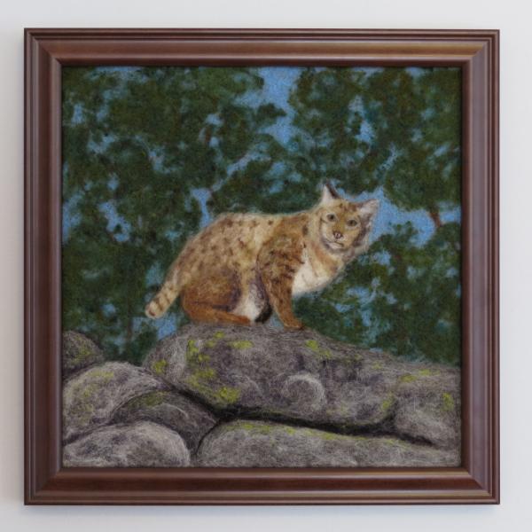 Bobcat Needle Felted Wool Painting