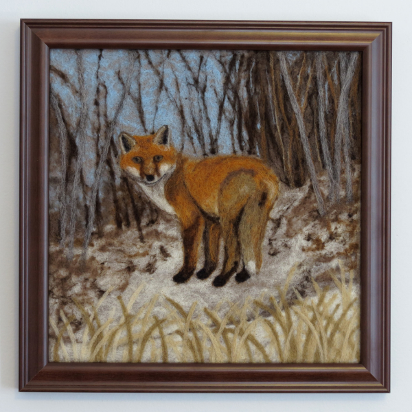 Red Fox Needle Felted Wool Painting
