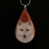 Arctic Fox on Bubinga Wood Pendant