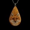 Red Fox on Cherry Wood Pendant