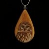 Saw Whet Owl on Apple Wood Pendant