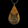 Great Horned Owl on Apple Wood Pendant