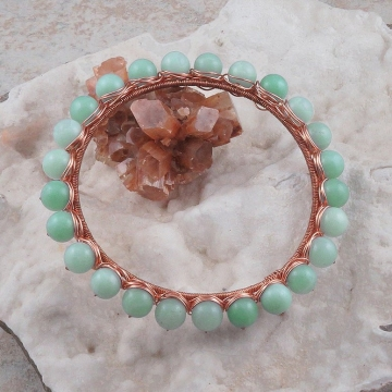 Amazonite Copper Wire Wrapped Bangle Bracelet