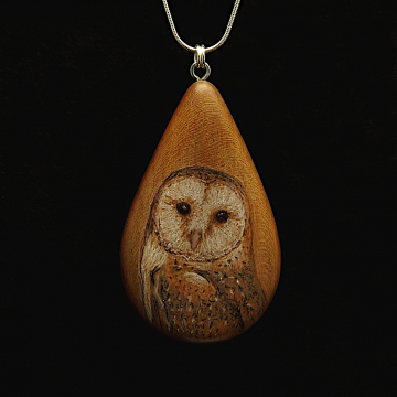 Barn Owl on Cherry Wood Pendant