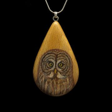 Great Gray Owl on Beechnut Wood Pendant