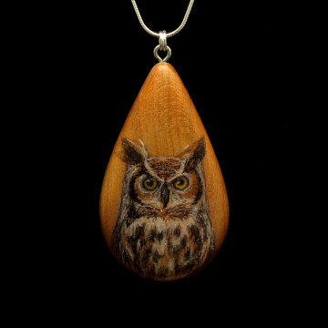 Great Horned Owl on Cherry Wood Pendant