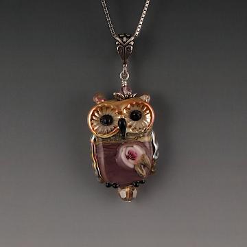 Lampwork Owl Pendant Sterling Silver BELINDA