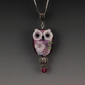 Lampwork Owl Pendant Sterling Silver MELODY