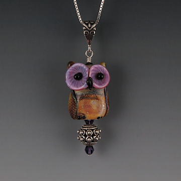 Lampwork Owl Pendant Sterling Silver APOLLO