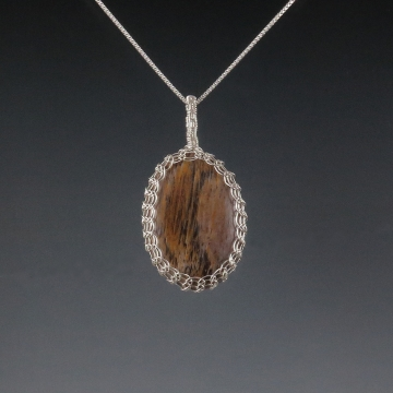 Petrified Wood Pendant Necklace Sterling Silver Viking Knit Wire Wrapped