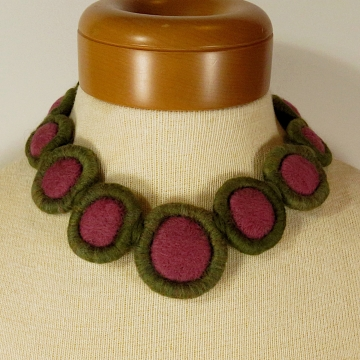 Felted Wool Choker Necklace - Pink, Green - Watermelon