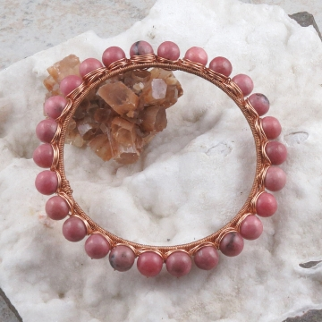 Rhodonite Copper Wire Wrapped Bangle Bracelet