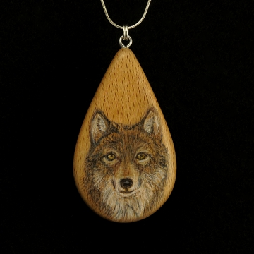 Wolf on Beechnut Wood Pendant