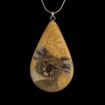Koala on Quarter Sawn Ash Wood Pendant