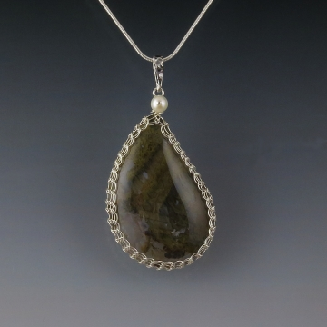 Green Moss Agate Pendant Necklace Sterling Silver Viking Knit Wire Wrapped