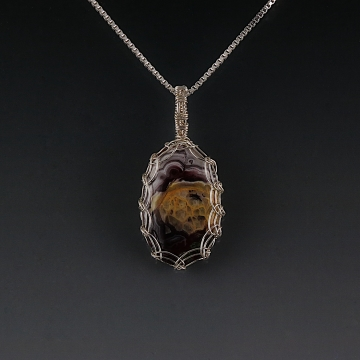 Crazy Lace Agate Pendant Necklace Sterling Silver Viking Knit Wire Wrapped