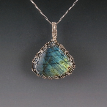 Labradorite Pendant Necklace Sterling Silver Viking Knit Wire Wrapped