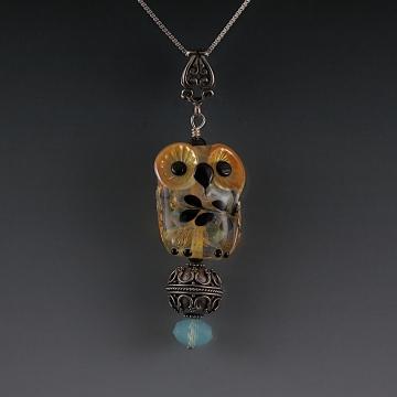 Lampwork Owl Pendant Sterling Silver SOPHIA
