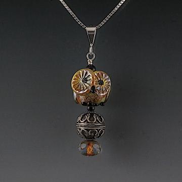 Lampwork Owl Pendant Sterling Silver MARCIA