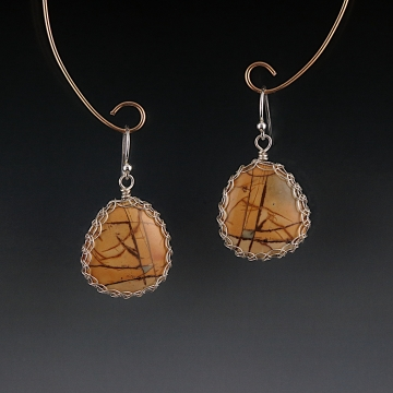Cherry Creek Jasper Earrings Sterling Silver Viking Knit Wire Wrapped