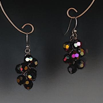 Swarovski Crystal Cluster Earrings - Jet Astral Pink