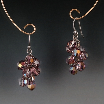 Swarovski Crystal Cluster Earrings - Amethyst Moonlight