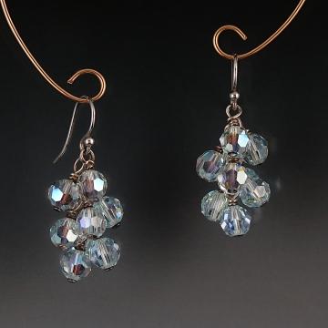 Swarovski Crystal Cluster Earrings - Light Azore AB