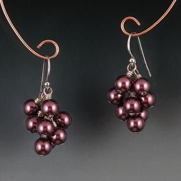 Swarovski Crystal Pearl Cluster Earrings - Burgundy