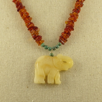 Elephant Necklace Amber Turquoise Aragonite Sterling Silver