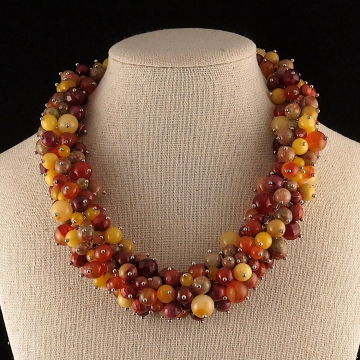 Multi Stone Cluster Necklace Beaded Statement Necklace Fall Colors Agate Jasper